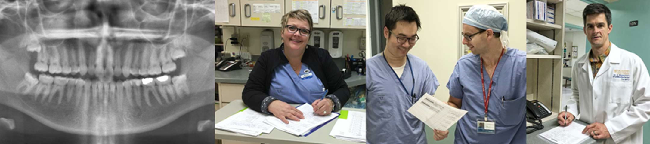 A stack of images showing dental workers during the day.