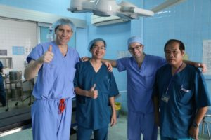 Two resident dental workers and two workers from UOMF pose for a group photo for the Vietnam trip.